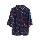 Cherry Print Beaded Half Ruffle Sleeve Chiffon Shirt