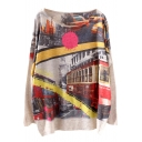 Vintage Electric City Bus Print Beige Loose Sweater