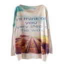 Sentence&Track Print Loose Sweater