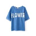 FLOWER Applique Denim Short Sleeve Blouse