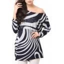 Abstracts Stripe Beaded Long Sleeve Smock Blouse