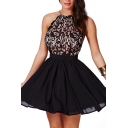 Lace Panel Black Halter Ruffle Hem Open Back Dress