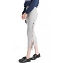 Plain Knit Skinny Elastic Bow Split Hem Skit