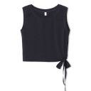 Side Bow Tie Hem Elastic Cotton Crop Tanks