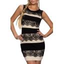 Color Block Lace Panel Round Neck Sleeveless Mini Dress