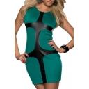 Color Block PU Insert Sleeveless Bodycon Dress