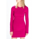 Fuchsia V-Neck Long Sleeve Cutout Back Zipper Dress
