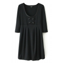 Black Plain High Waist Buttons Pleated 1/2 Sleeve Dress