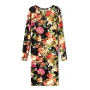 Long Sleeve Vintage Flower Print Cotton Black Background Dress
