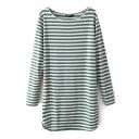 Color Block Elbow Stripes Print Long Sleeve Laid Back Dress