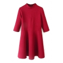 1/2 Sleeve Checker Pattern Plain Stand Collar A-line Dress