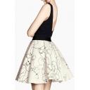 White Elastic Waist Gog Print Full Skirt