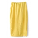 Yellow Plain Split Hem Midi Pencil Skirt