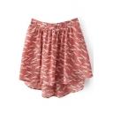 Pink Dog Print Elastic Waist Chiffon Skirt