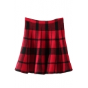 Red&Black Plaid Pattern Knitting Skater Skirt