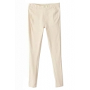 Khaki Plain Elastic Fitted Skinny Pants