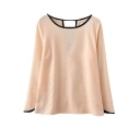 Pink Long Sleeve Color Block Trim Chiffon Blouse