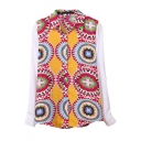 Long Sleeve Kaleidoscopic Pattern Chiffon Shirt