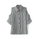 Mono Stripe 1/2 Cutout Sleeve Slim Shirt