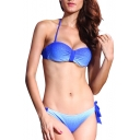 Blue Halter Beaded Gathered Side Tie Back Bikini Set