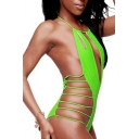 Green Halter Cutout High Waist One Piece Swimwear