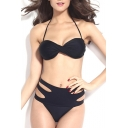 Black Halter Twist-Front High Waist Bikini Set