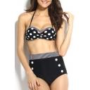 Stripe Polka Dot Buttons Halter High Waist Bikini Set