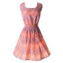 Scoop Neck  Sleeveless Flora Print  Tea Dress