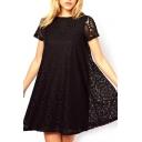 Black Short Sleeve Kaleidoscopic Lace Cutwork Swing Dress