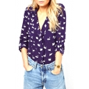 Navy Long Sleeve Swan Print Notched Lapel Chiffon Blouse