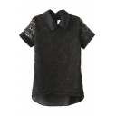 Black Lace Insert Lapel Short Sleeve Top