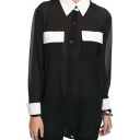 Black Long Sleeve Color Block High Low Hem Chiffon Blouse