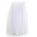 White Double Mesh Layer A-line Tea Length Skirt