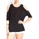 Black Cold Shoulder Short Sleeve Loose Top