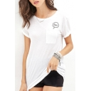 White Letter Print Loose Short Sleeve T-Shirt