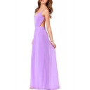 Purple Chiffon Sheer Cross Open Back Maxi Dress