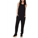 Black Halter Open Back Sleeveless Fitted Jumpsuits