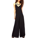 Black V-Neck Wide Leg Cutout Back Sleeveless Jumpsuits