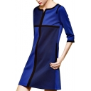 Casual Color Block Round Neck 3/4 Sleeve Shift Dress