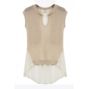 Apricot Knitting&Chiffon Panel Midi Sleeveless Blouse