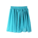 Sky Blue Elastic Waist Pleated Chiffon Skirt