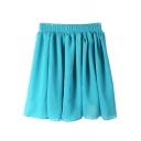 Sky Blue Elastic Waist Pleated Chiffon Skirt
