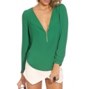 Green Long Sleeve Zippered V-Neck Chiffon Blouse