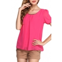 Fuchsia Short Sleeve Pleated Front Chiffon Blouse