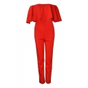 Red Off-the-Shoulder Ruffle Layer Jumpsuit