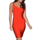 Red Strap Open Back Bandage Dress