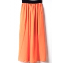 Orange Elastic Waist Chiffon Maxi Skirt