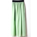 Light Green Elastic Waist Chiffon Maxi Skirt