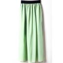 Light Green Elastic Waist Chiffon Maxi Skirt