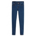 Dark Blue Plain Fitted Pencil Jeans with Zipper Fly